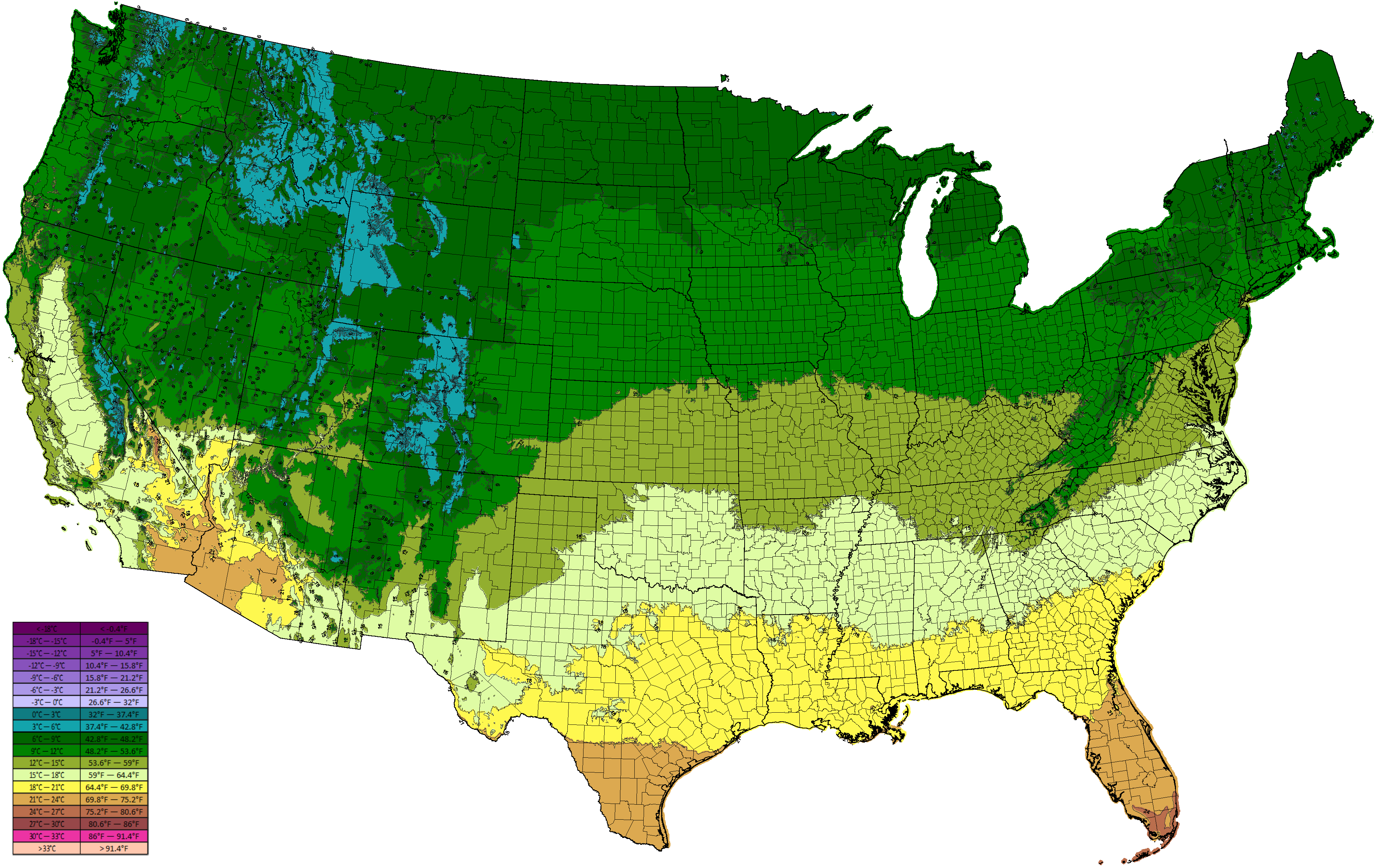 Climate Types - Annual low temperatures us map