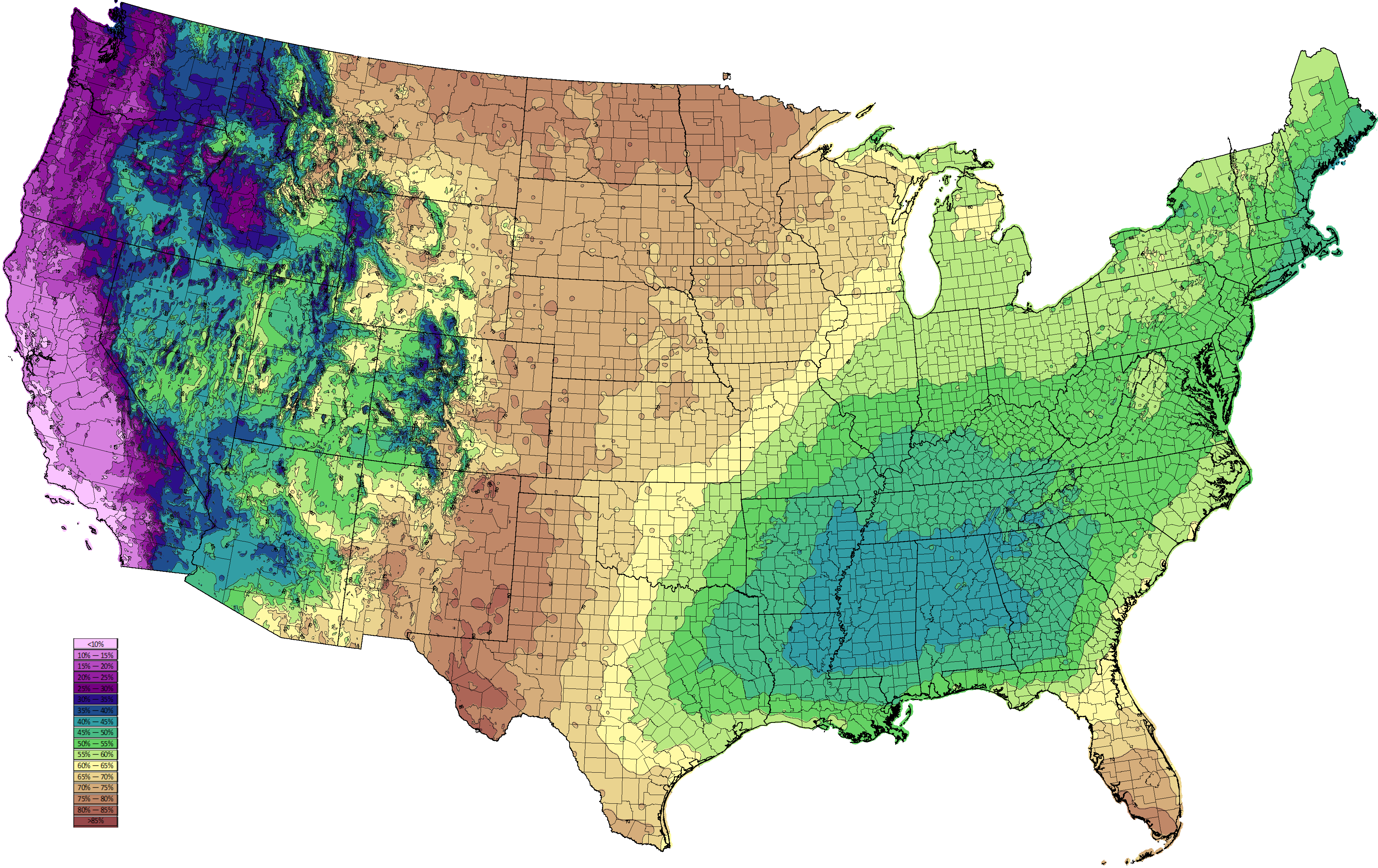 Climate Types - United states precipitation map