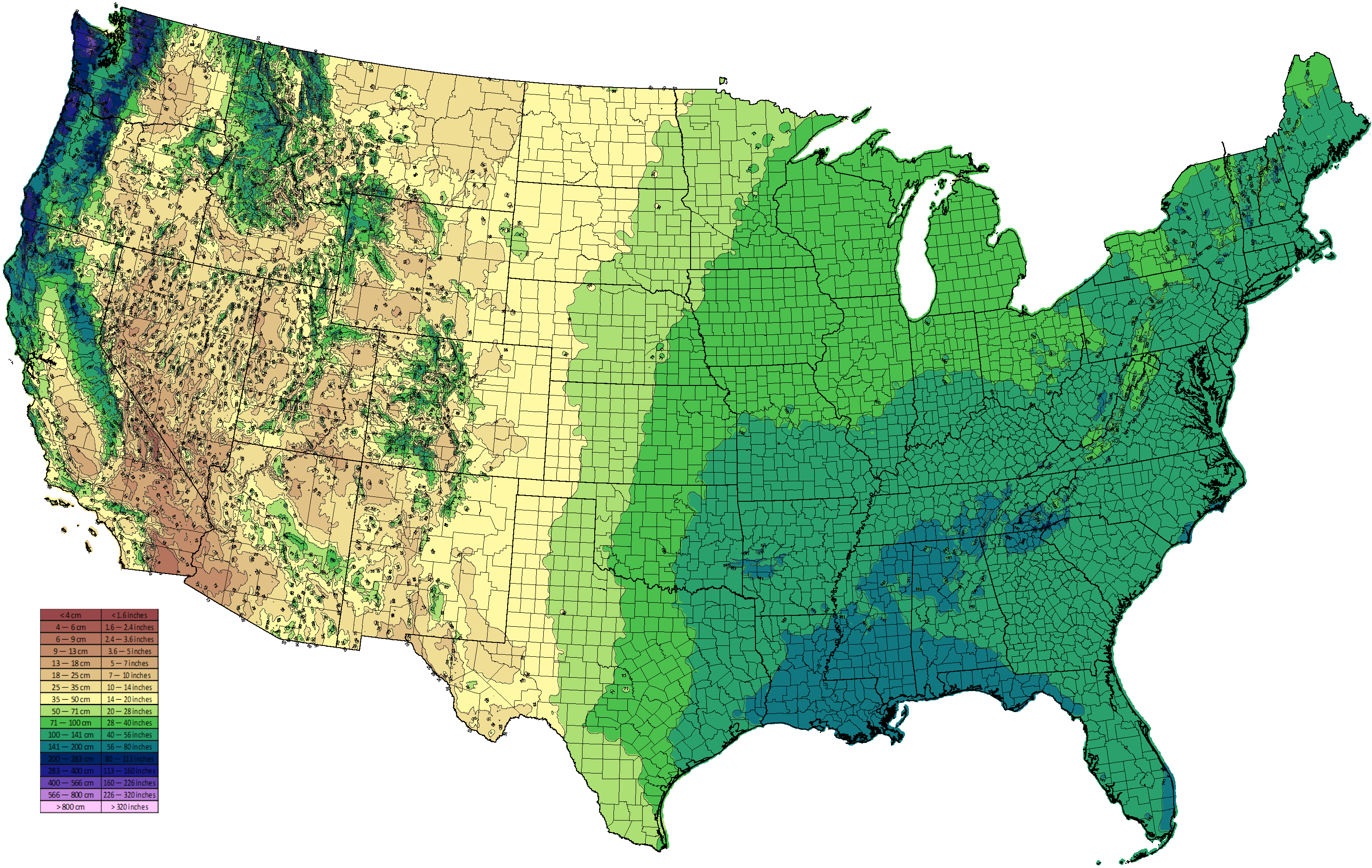Climate Types - Precipitation map of us