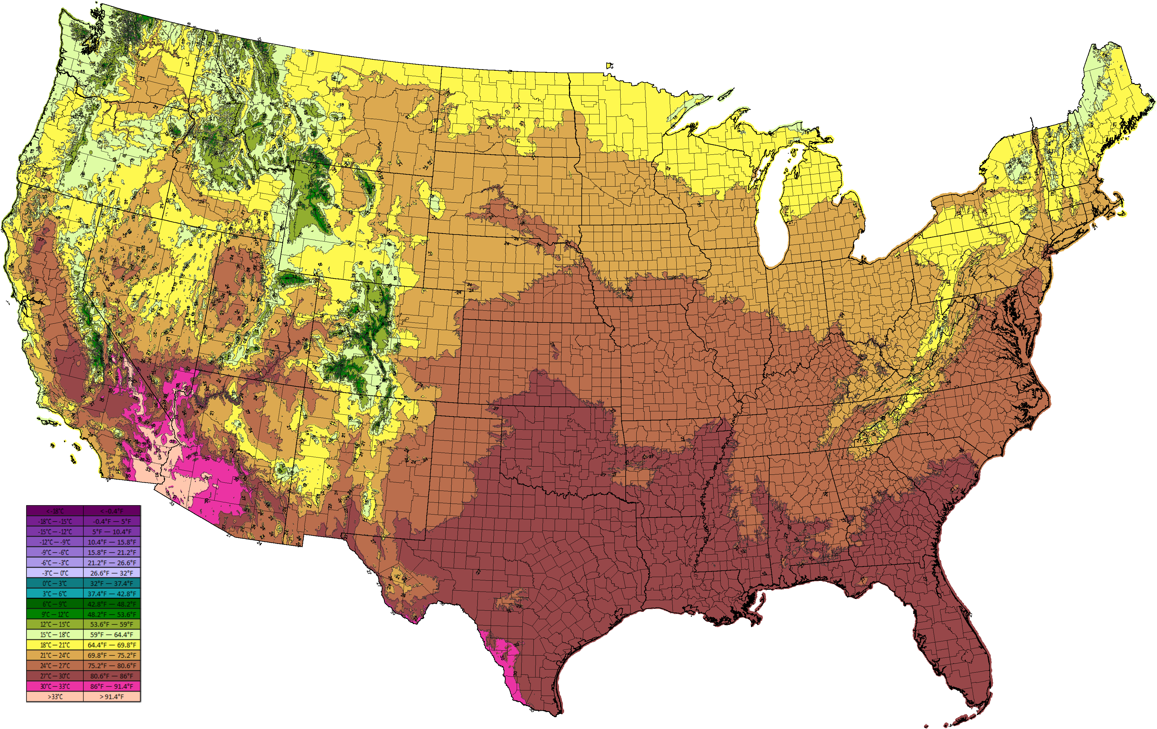 Climate Types - Average temp map us