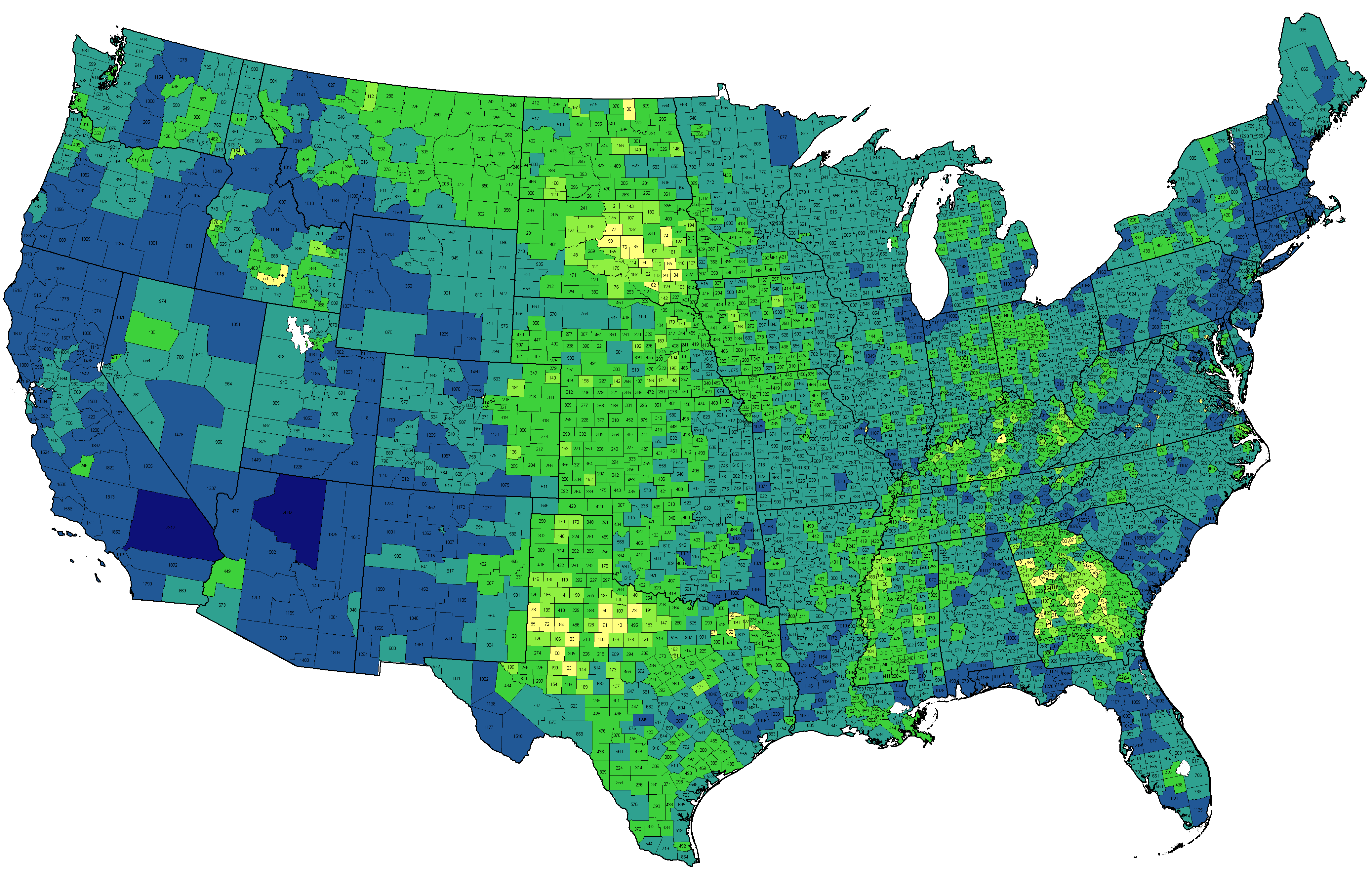 Density Gradient - Us map blank color