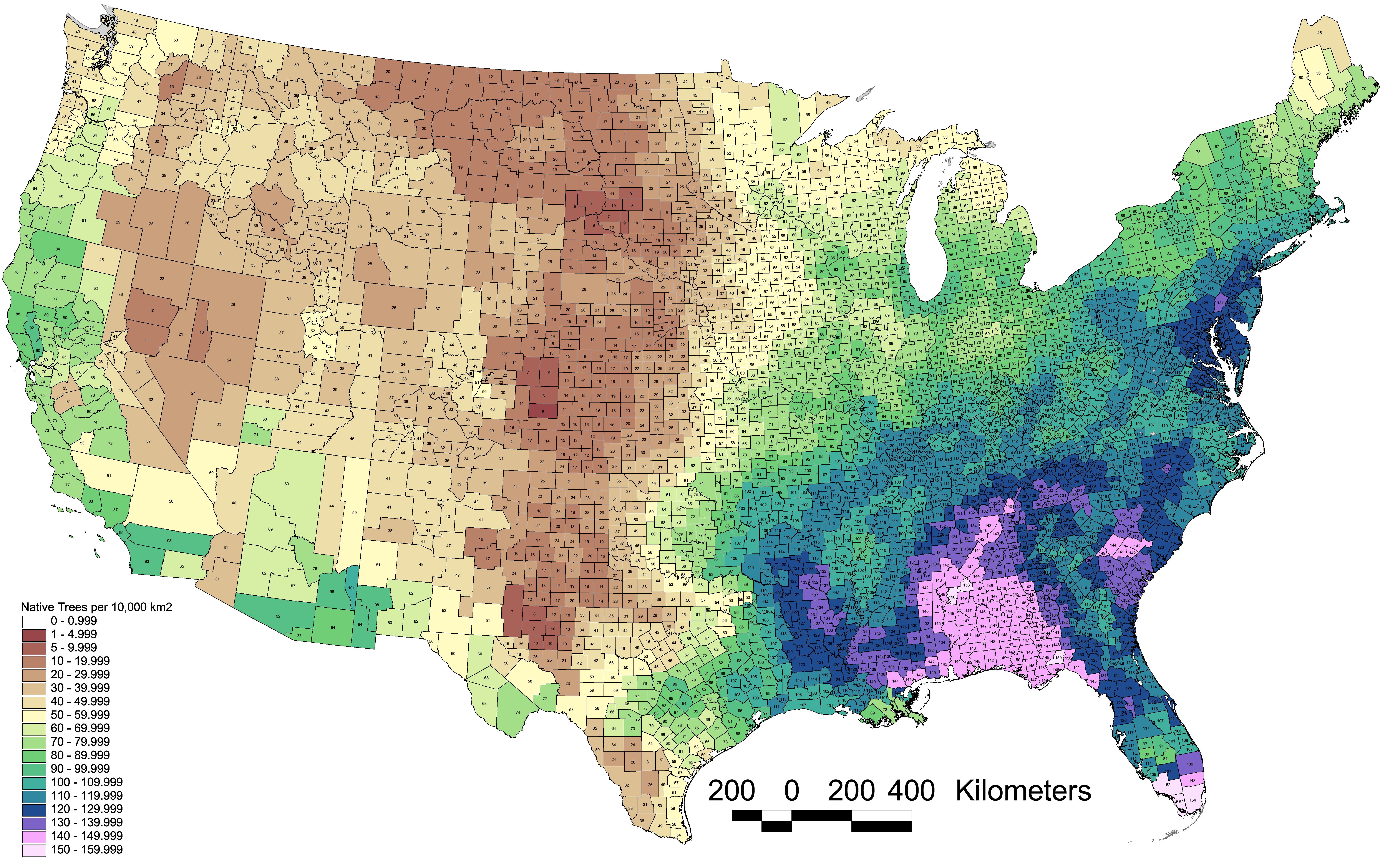 Density Gradient - Map of diversity in us