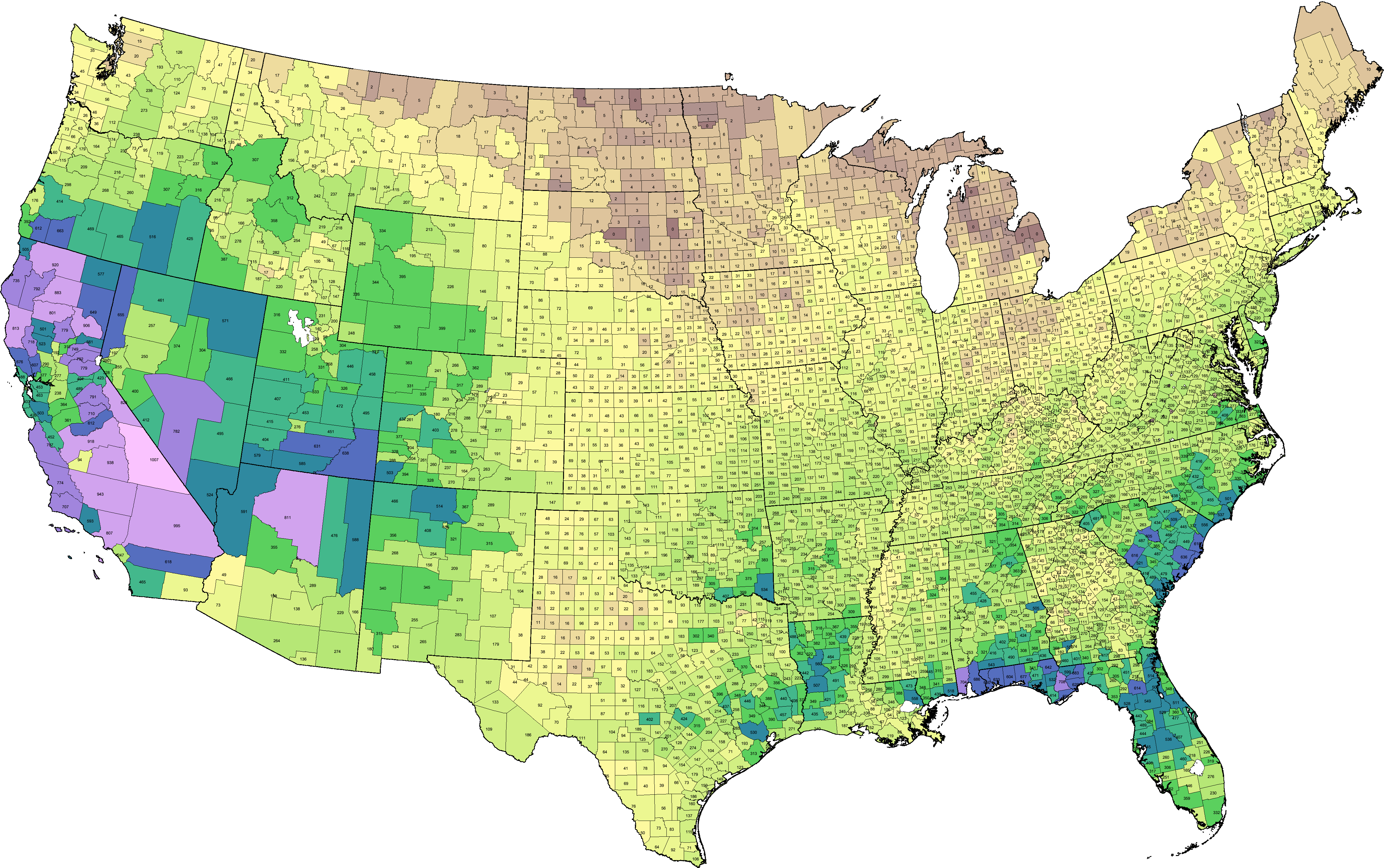 Density Gradient - Us map counties